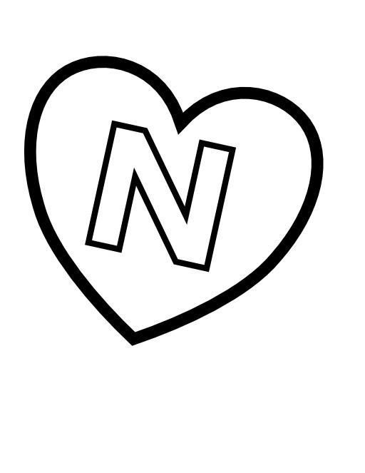 La lettre N dans un coeur