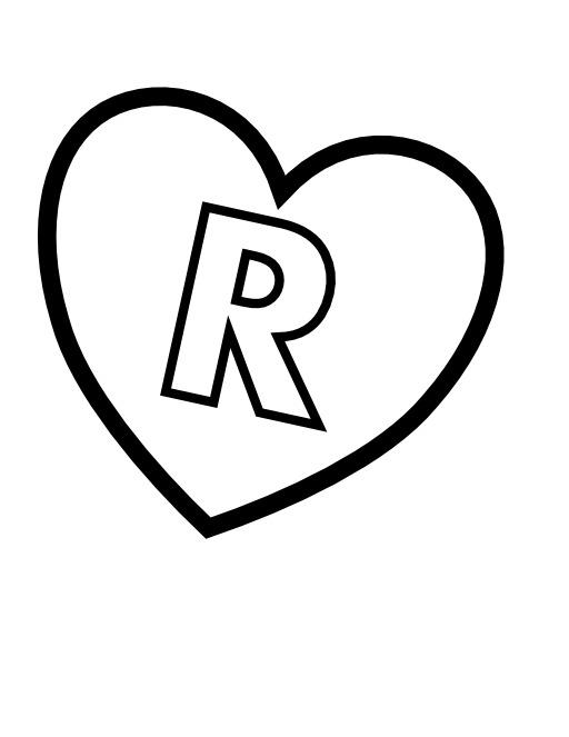 La lettre R dans un coeur