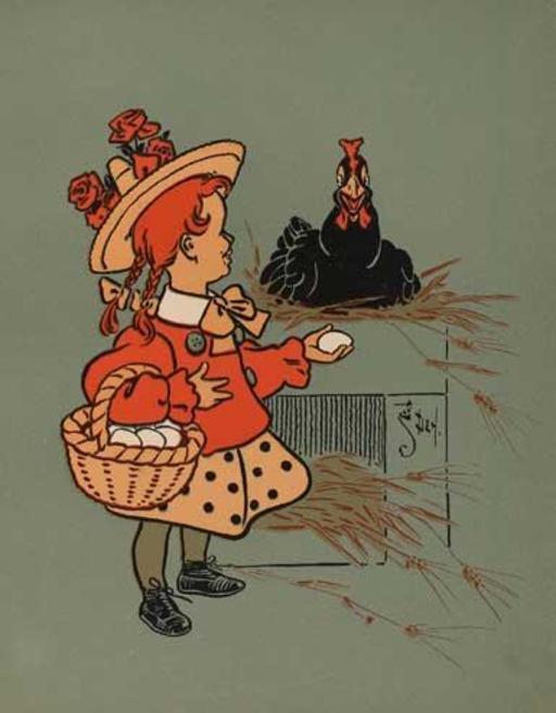 La petite fille ramasse les oeufs de poule