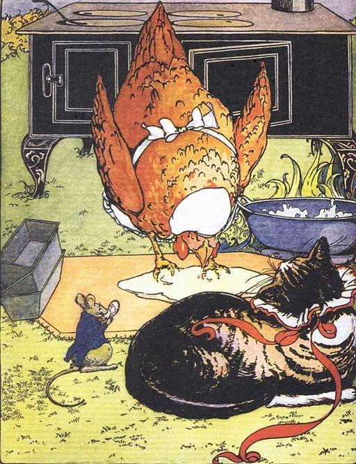 La petite poule rousse prépare un gâteau