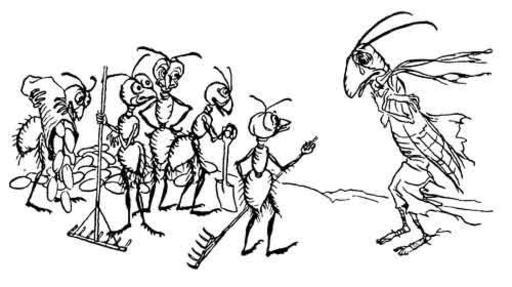 La sauterelle et les fourmis