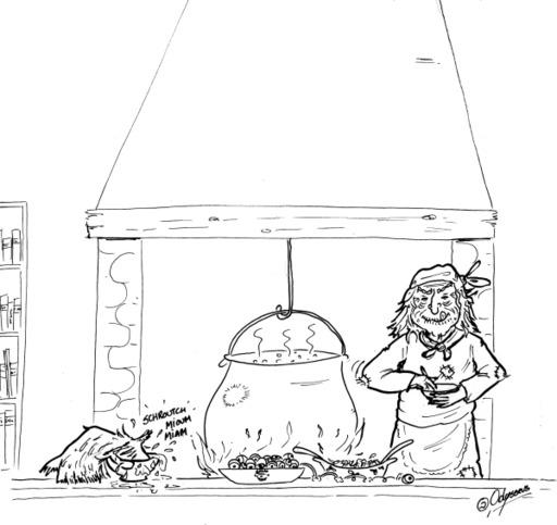 La sorcière Babayaga fait la cuisine