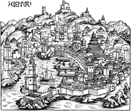 La ville de Gênes en 1490
