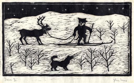 Lapon dans la neige avec son renne et son chien