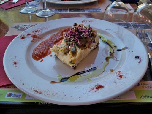 Lasagne de brandade au restaurant