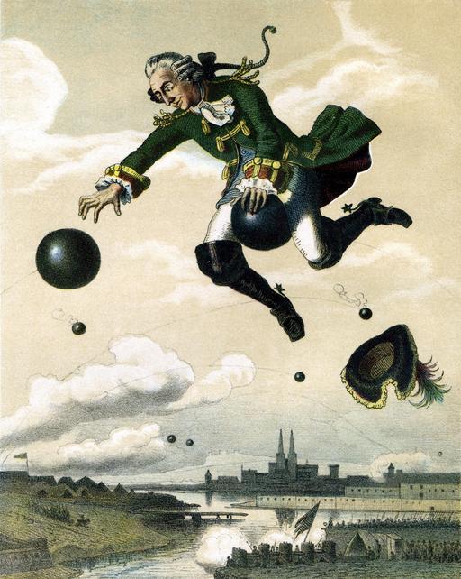 Le baron de Munchausen sur son boulet de canon