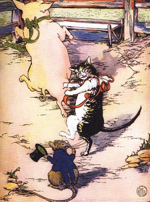Le cochon, le chat et le rat font la fête