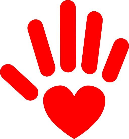 Le coeur sur la main rouge