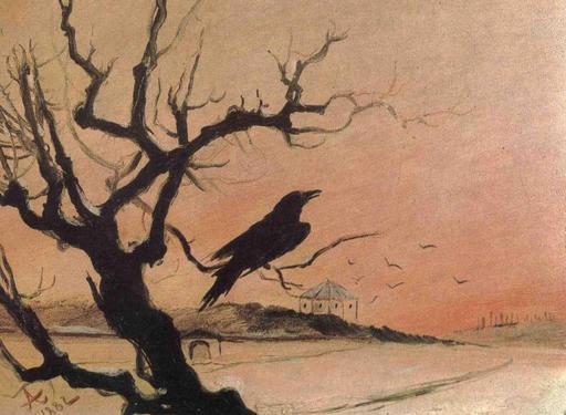 Le corbeau sur sa branche en hiver en 1882