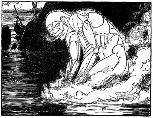 Le monstre Talus entre dans l'eau