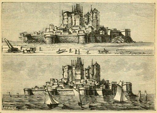 Le Mont Saint-Michel à marée haute et à marée basse