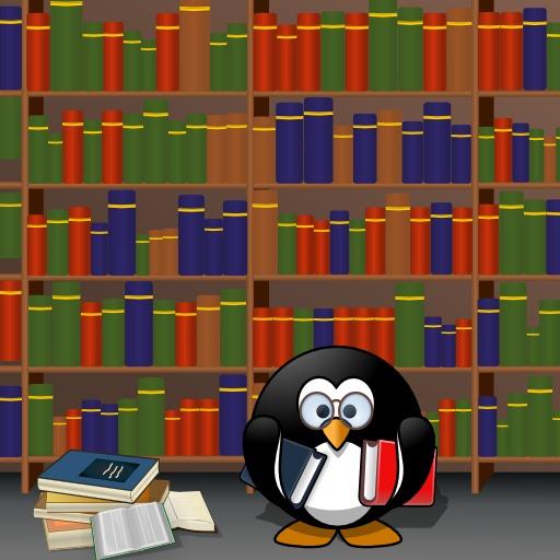 Le pingouin studieux à la bibliothèque