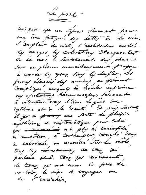 Le port manuscrit de Baudelaire