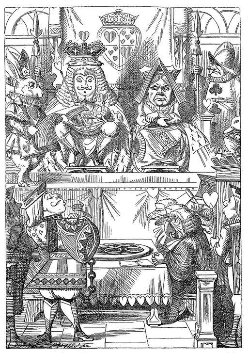 Le roi et la reine inspectent les tartes d'Alice
