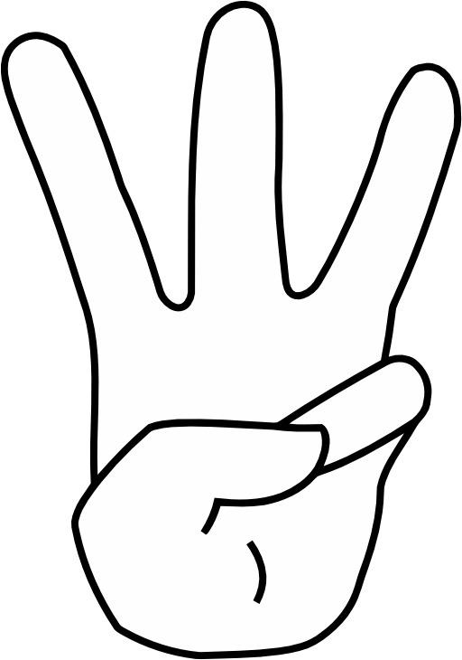 Le signe 3 avec la main