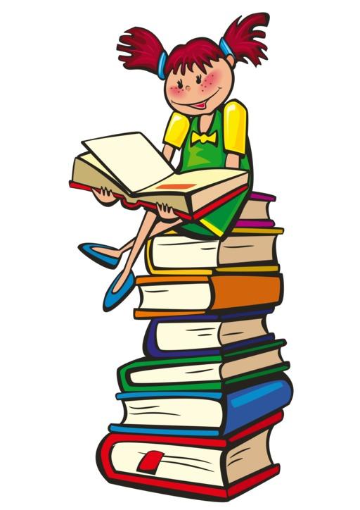 Lecture sur une pile de livres