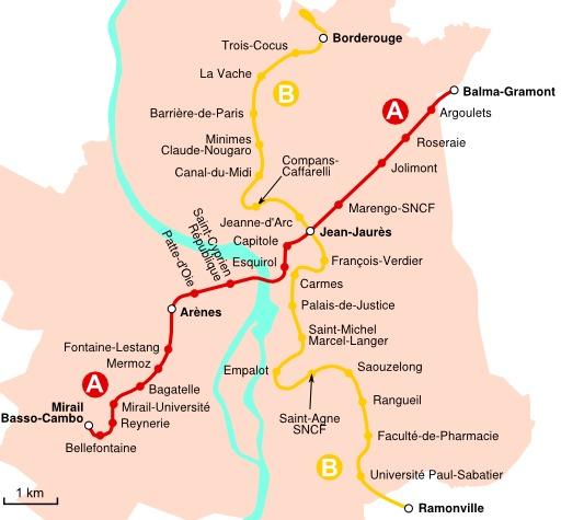 Les deux lignes du métro de Toulouse
