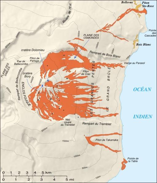 Les éruptions au Piton de la Fournaise