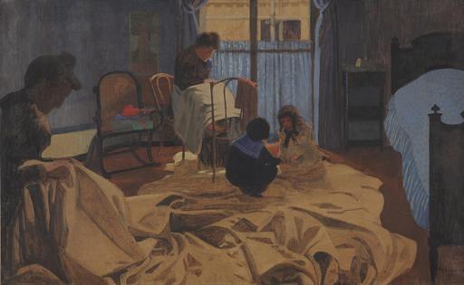 Les lingères dans la chambre bleue en 1900