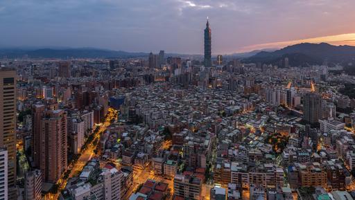 Lever de soleil sur Taipei à Taïwan