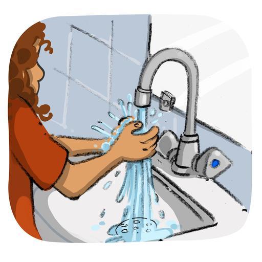 Luna se mouille les mains sous le robinet