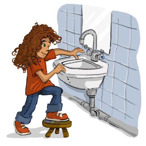 Luna va se laver les mains