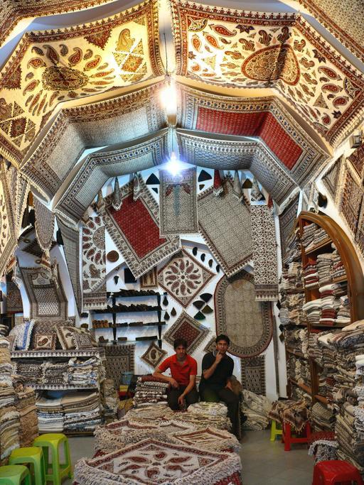 Magasin de textiles à Ispahan en Iran