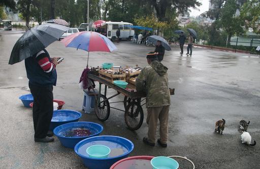 Marchand de poisson sous la pluie en Turquie