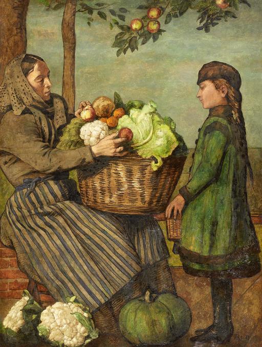 Marchande de légumes et fillette en 1883