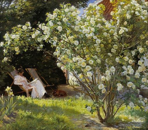 Marie Krøyer lisant dans un transat