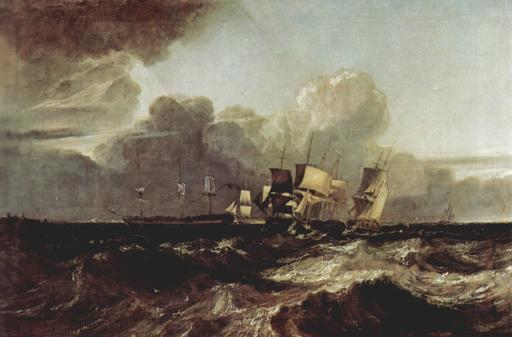 Marine à voile en mer en 1802