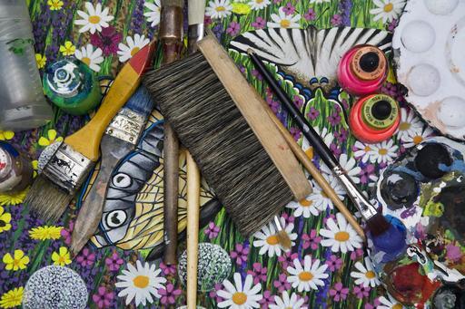 Matériel de peintre de rues