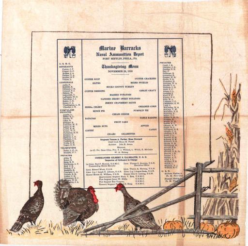 Menu de Thanksgiving en 1918