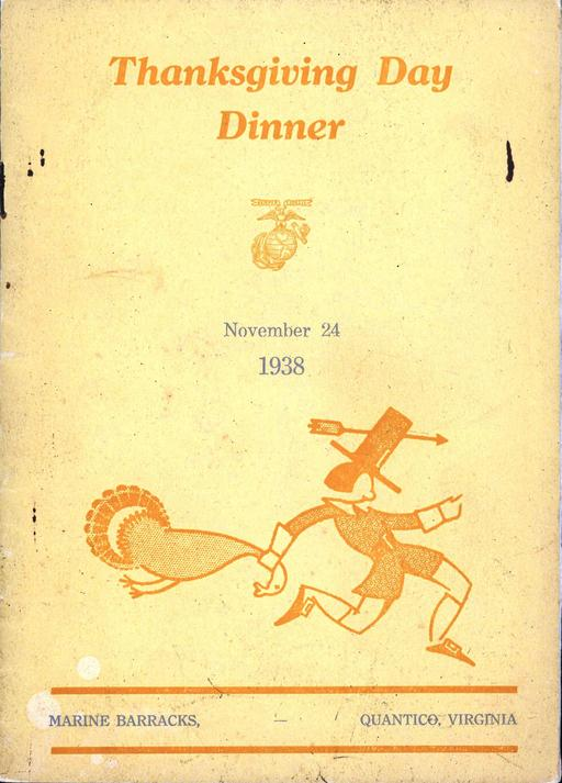 Menu de Thanksgiving en 1938