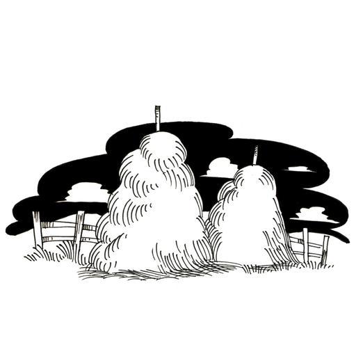 Meules de foin dans un champ