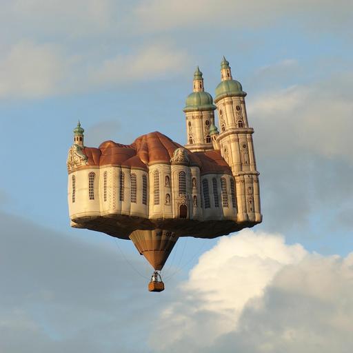 Montgolfière en forme de cathédrale