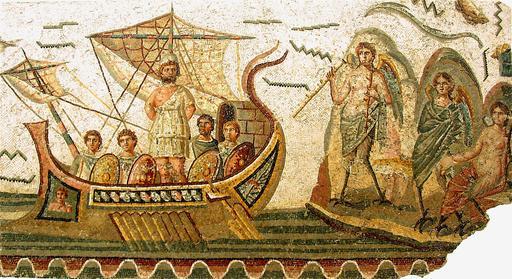 Mosaïque d'Ulysse et les sirènes