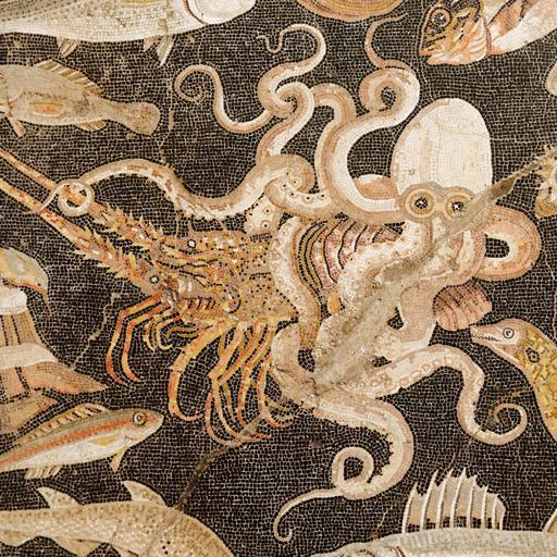Mosaïque du poulpe à Pompéi