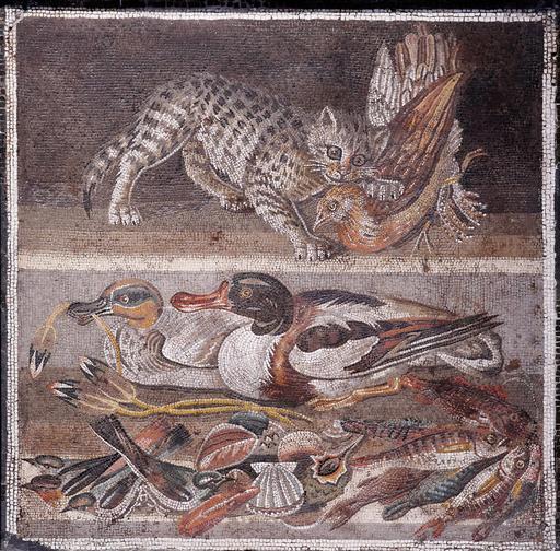 Mosaïque romaine avec chat et oiseaux