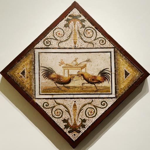 Mosaïque romaine avec combat de coqs