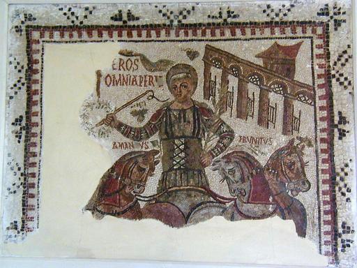 Mosaïque romaine de l'aurige à Dougga