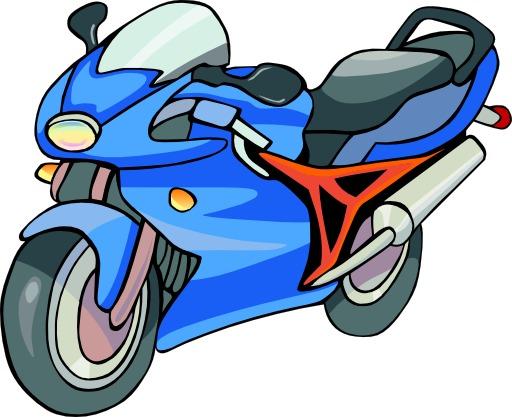 Motocyclette bleue