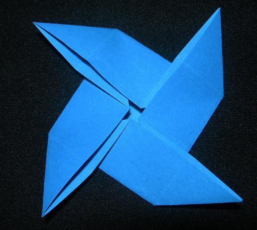 Moulin bleu en origami
