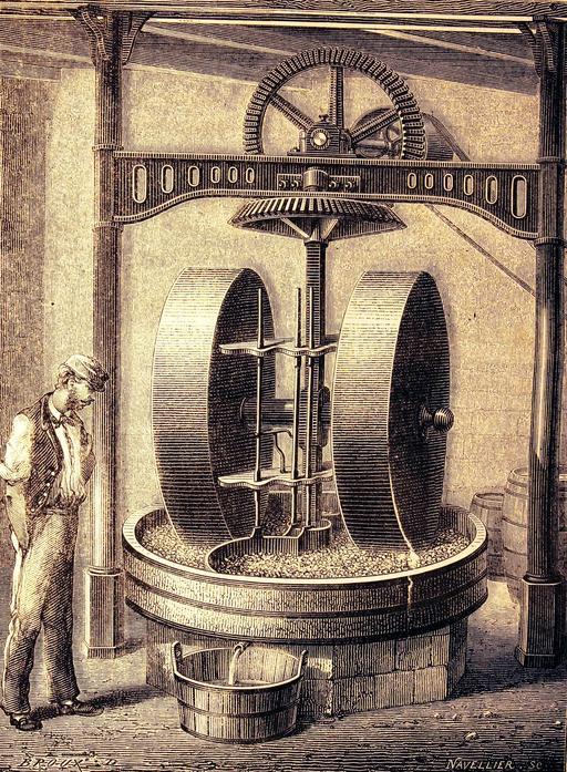 Moulin pour écraser les graines oléagineuses en 1873