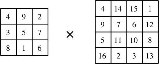 Multiplication de deux carrés magiques - 1