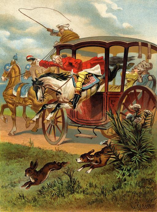 Munchhausen sautant dans le carrosse
