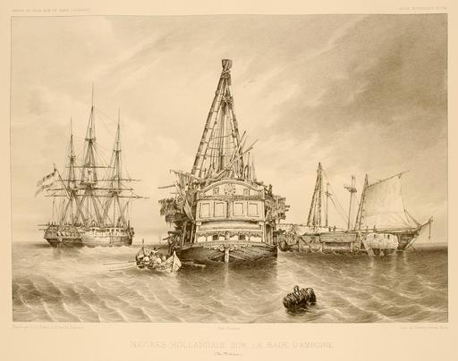 Navires malais sur la rade d'Amboine dans les Moluques en 1838
