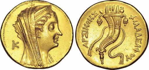 Octodrachme d'or égyptien avec une corne d'abondance
