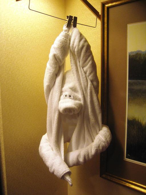 Orang-outan suspendu en serviettes de bain