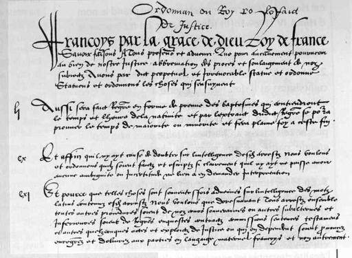 Ordonnance de Villers-Cotterêts du 15 août 1539.